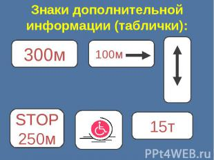 Знаки дополнительной информации (таблички):