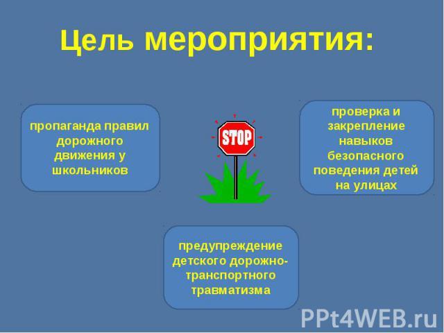 Цель мероприятия: пропаганда правил дорожного движения у школьниковпредупреждение детского дорожно-транспортного травматизмапроверка и закрепление навыков безопасного поведения детей на улицах