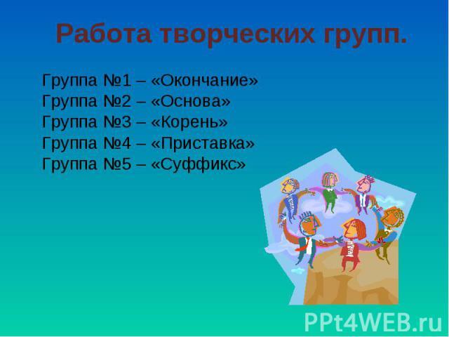 Работа творческих групп. Группа №1 – «Окончание»Группа №2 – «Основа»Группа №3 – «Корень»Группа №4 – «Приставка»Группа №5 – «Суффикс»