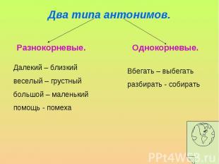 Два типа антонимов. Далекий – близкийвеселый – грустныйбольшой – маленькийпомощь