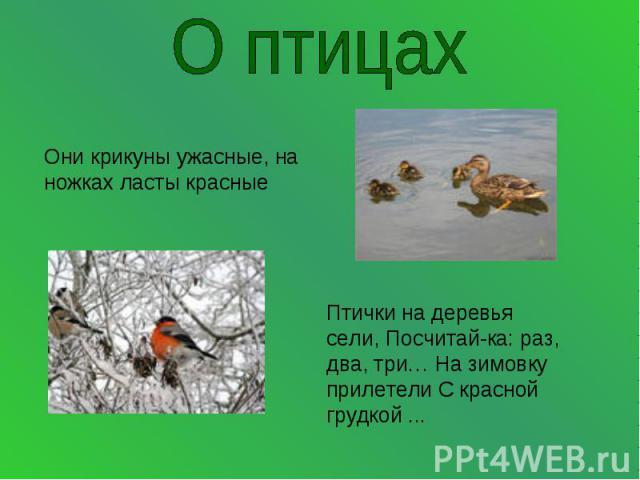 О птицахОни крикуны ужасные, на ножках ласты красные Птички на деревья сели, Посчитай-ка: раз, два, три… На зимовку прилетели С красной грудкой ...