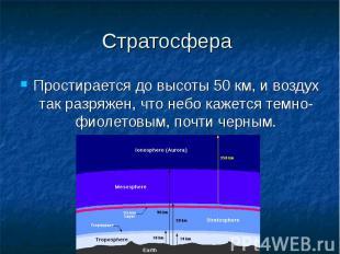 Стратосфера Простирается до высоты 50 км, и воздух так разряжен, что небо кажетс