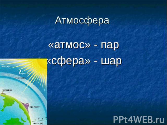 Атмосфера «атмос» - пар«сфера» - шар