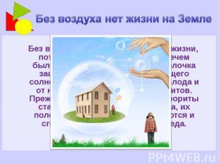 Без воздуха нет жизни на Земле Без воздуха на Земле не было бы жизни, потому что