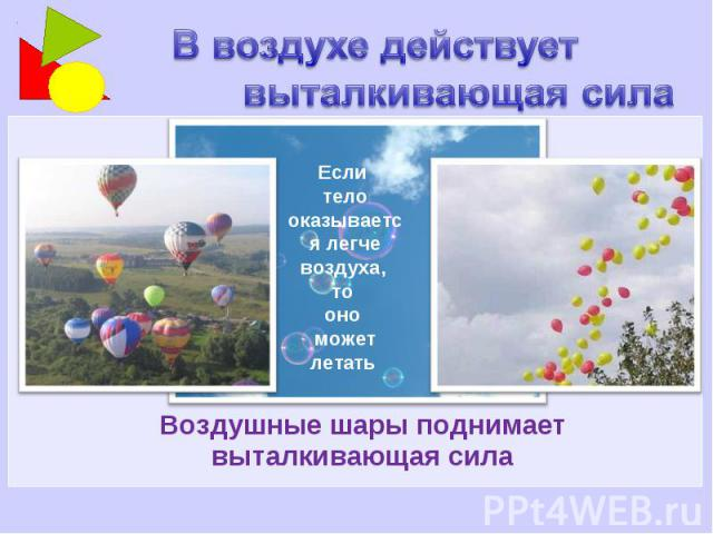 В воздухе действует выталкивающая сила Если тело оказывается легче воздуха, то оно может летать Воздушные шары поднимает выталкивающая сила