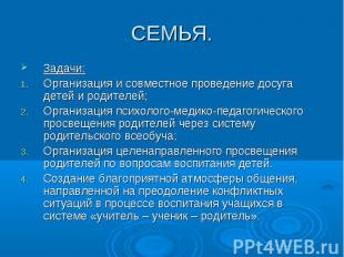 СЕМЬЯ. Задачи:Организация и совместное проведение досуга детей и родителей;Орган