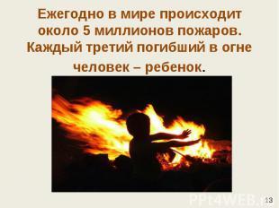 Ежегодно в мире происходит около 5 миллионов пожаров. Каждый третий погибший в о