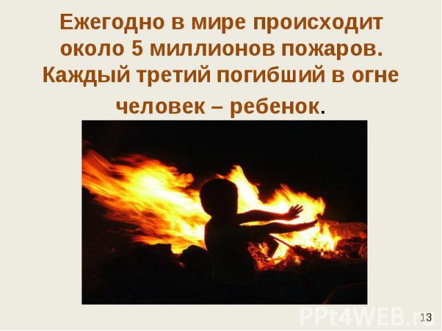 Ежегодно в мире происходит около 5 миллионов пожаров. Каждый третий погибший в огне человек – ребенок.