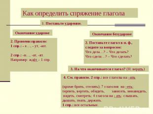 Как определить спряжение глагола