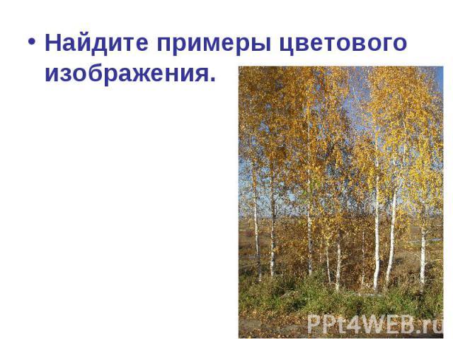 Найдите примеры цветового изображения.