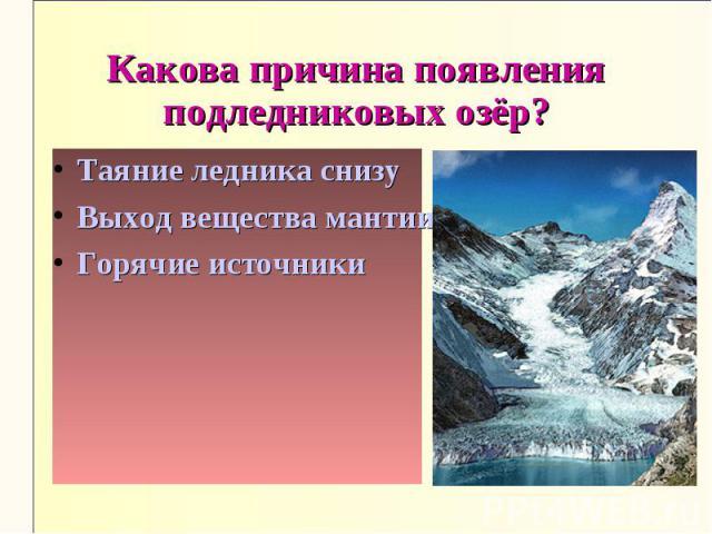 Какова причина появления подледниковых озёр?Таяние ледника снизуВыход вещества мантии на поверхностьГорячие источники
