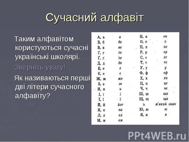 Таким алфавітом користуються сучасні українські школярі. Таким алфавітом користуються сучасні українські школярі. Зверніть увагу! Як називаються перші дві літери сучасного алфавіту?