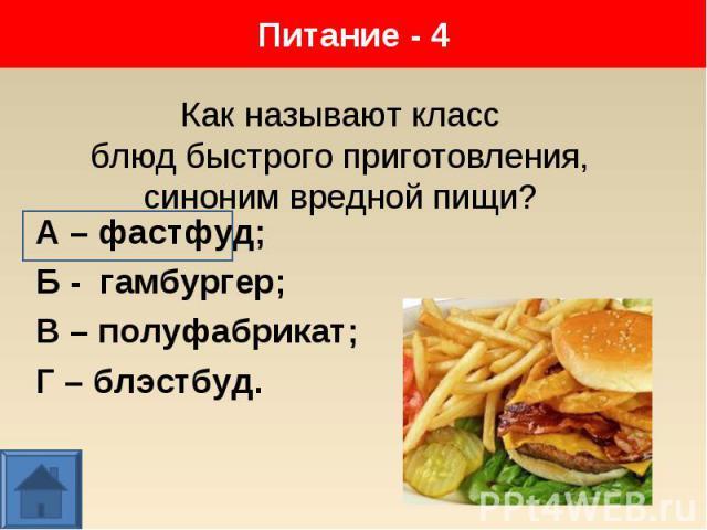 А – фастфуд; А – фастфуд; Б - гамбургер; В – полуфабрикат; Г – блэстбуд.