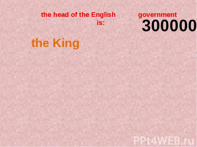 the head of the English government is: