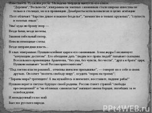 """Известность Пушкина росла. Молодежь твердила наизусть его стихи. """"Деревня"""",""""Воль"""