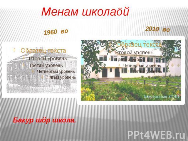 Бакур шöр школа.1960 во