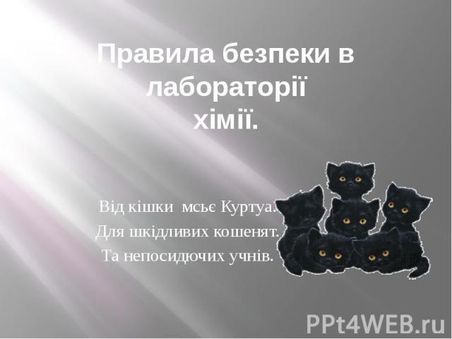 Правила безпеки в лабораторії хімії. Від кішки мсьє Куртуа. Для шкідливих кошенят. Та непосидючих учнів.