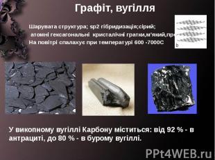 Графіт, вугілля Шарувата структура; sp2 гібридизація;сірий; атомні гексагональні