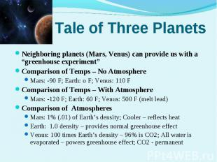 "Neighboring planets (Mars, Venus) can provide us with a ""greenhouse experiment""N"