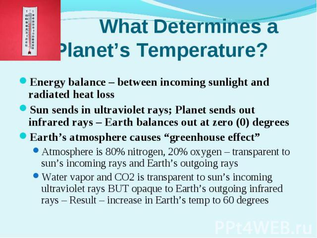 Energy balance – between incoming sunlight and radiated heat lossEnergy balance – between incoming sunlight and radiated heat lossSun sends in ultraviolet rays; Planet sends out infrared rays – Earth balances out at zero (0) degreesEarth's atmospher…