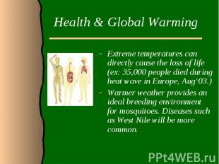 Health & Global WarmingExtreme temperatures can directly cause the loss of l