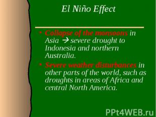El Niño Effect Collapse of the monsoons in Asia severe drought to Indonesia and