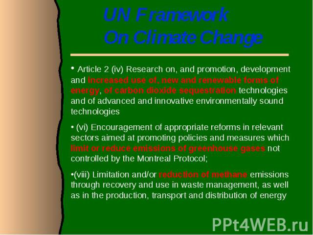 UN Framework On Climate Change