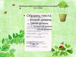 Присвоена первая квалификационная категория28.12.2000г.