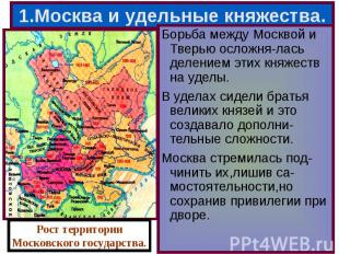 Борьба между Москвой и Тверью осложня-лась делением этих княжеств на уделы. Борь