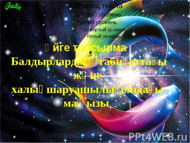 Үйге тапсырма: Балдырлардың табиғаттағы және халықшаруашылығындағы маңызы