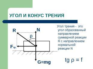 Угол трения - это угол образованный направлением суммарной реакции R с направлен