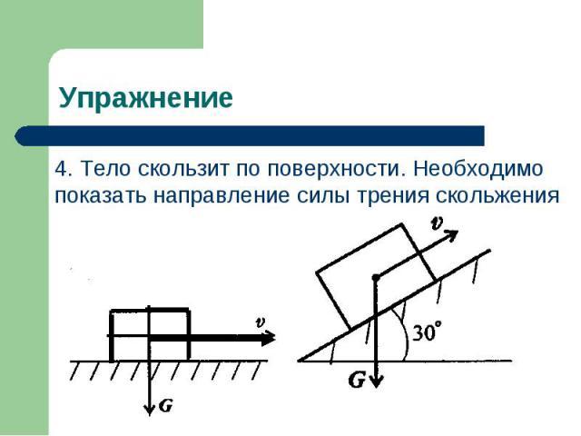 4. Тело скользит по поверхности. Необходимо показать направление силы трения скольжения