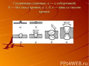 Соединения стыковые: а — с отбортовкой;б — без скоса кромок; в, г, д, е — швы со