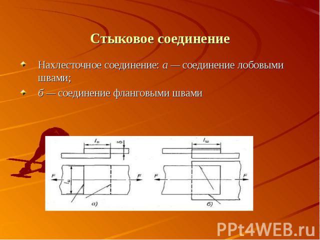 Нахлесточное соединение: а — соединение лобовыми швами;б — соединение фланговыми швами