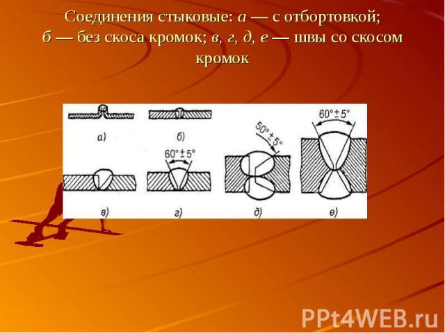 Соединения стыковые: а — с отбортовкой;б — без скоса кромок; в, г, д, е — швы со скосом кромок
