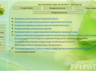 ЭКОЛОГИЧЕСКИЕ INTERNET - РЕСУРСЫ Кемеровской области