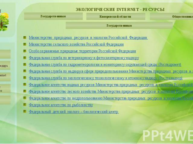 ЭКОЛОГИЧЕСКИЕ INTERNET - РЕСУРСЫ Государственные
