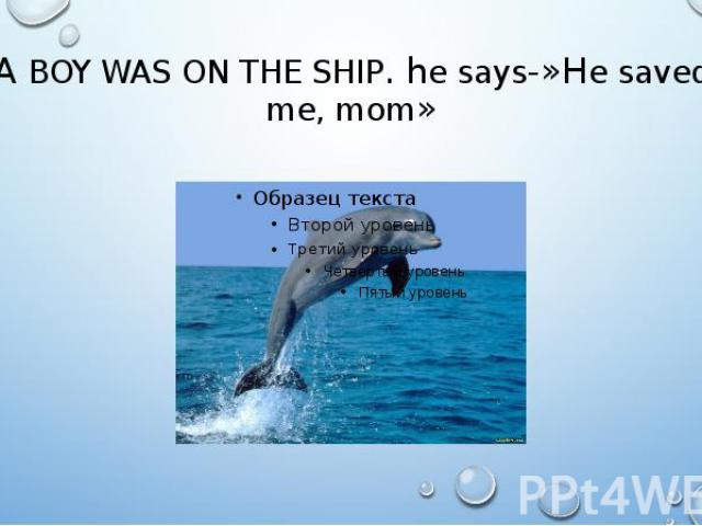 A BOY WAS ON THE SHIP. he says-»He saved me, mom»