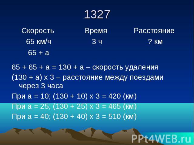 1327 65 + 65 + а = 130 + а – скорость удаления (130 + а) х 3 – расстояние между поездами через 3 часа При а = 10; (130 + 10) х 3 = 420 (км) При а = 25; (130 + 25) х 3 = 465 (км) При а = 40; (130 + 40) х 3 = 510 (км)
