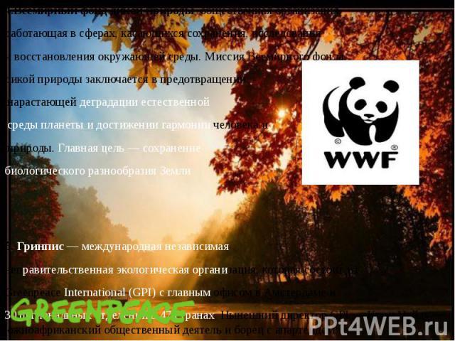 4.Всемирный фонд дикой природыобщественная организация, 4.Всемирный фонд дикой природыобщественная организация, работающая в сферах, касающихся сохранения, исследования и восстановления окружающей среды. Миссия Всемирного фон…
