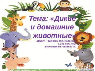 Тема: «Дикие и домашние животные» МКДОУ – детский сад «Колосок» с.Сорочий Лог, в