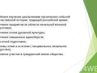 Программа ПРОО ВПСК «Русь» включает : Глубокое изучение школьниками героических