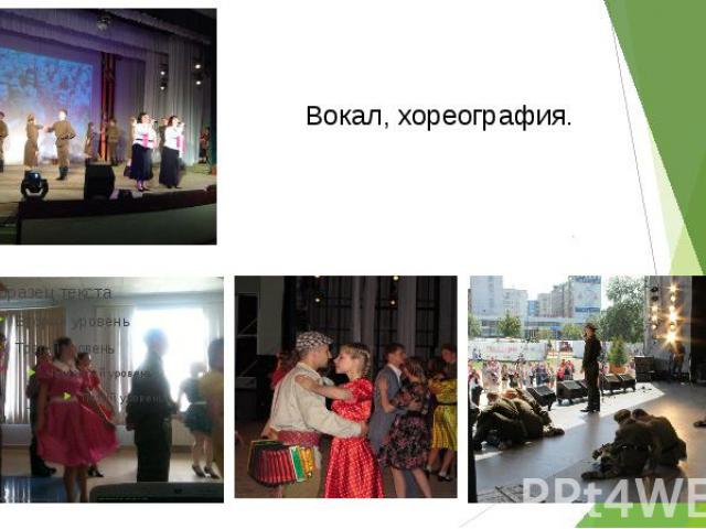 Вокал, хореография.