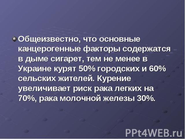 Общеизвестно, что основные канцерогенные факторы содержатся в дыме сигарет, тем не менее в Украине курят 50% городских и 60% сельских жителей. Курение увеличивает риск рака легких на 70%, рака молочной железы 30%.