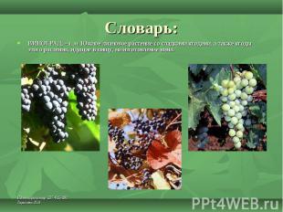 Словарь: ВИНОГРАД, –а, м. Южное лиановое растение со сладкими ягодами, а также я