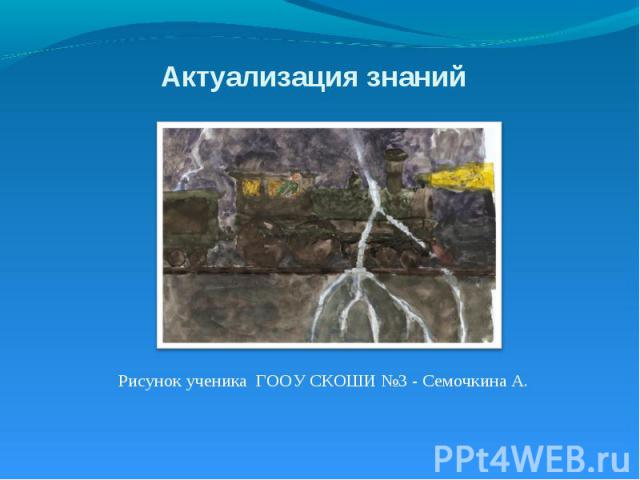 Актуализация знаний Рисунок ученика ГООУ СКОШИ №3 - Семочкина А.