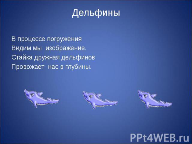 Дельфины В процессе погружения Видим мы изображение.Стайка дружная дельфиновПровожает нас в глубины.