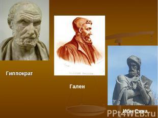 Гиппократ Гален Ибн Сина