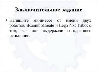 Заключительное задание Напишите мини-эссе от имени двух роботов: iRoomboCreate и
