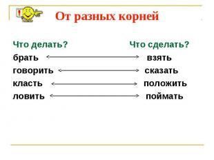 От разных корней Что делать? Что сделать?брать взятьговорить сказатькласть полож